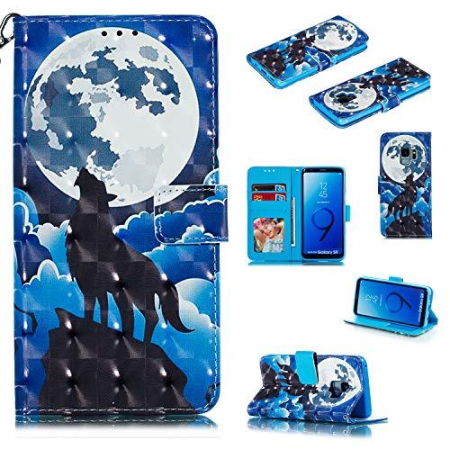 LuckyW Custodia Magnetic per Samsung S9, 3D Cover in Pelle per Samsung Galaxy S9 Portafoglio Libro Libretto Flip Folio Copertura con Kickstand Cinturino da Polso,Lupo