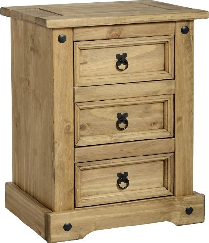 Pair of Corona 3 Drawer Bedside Table