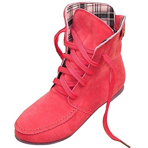 Minetom Inverno Moda Lace Up Boots Donne Scarpe Piatte Stivaletti Scarpe Fibbia Della Piattaforma Confortevole Martin Boots Anguria Rossa Plaid