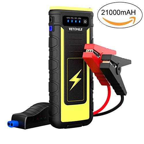 VETOMILE Arrancador de Coche 21000mAh 800A,Jump Starter para Coches, Motos etc, Arranque hasta 6.5L Gas o 3.0L Diesel, Batería 12V (Dual USB Salidas,Linterna LED,Pinzas Inteligentes con Protecciones)