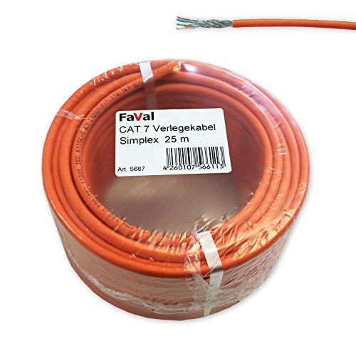 Faval K5687 CAT7 Verlegekabel 25m orange CAT.7 Netzwerkkabel Installationskabel aluminiumbeschichtet verzinntes Kupfergeflecht