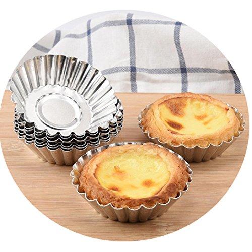 fheaven (TM) Ei Tart Pfannen Tarteform Aluminium Cupcake Kuchen Cookie gefüttert Schokoladenform, Home Küche Backen Werkzeug für Party Weihnachten 20PCS C (Muffin-pfanne Aluminium)