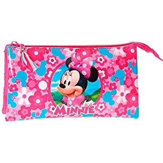 Minnie – Estuche escolar Triple Minnie Mouse primavera flores
