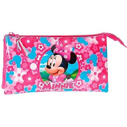 Minnie–Estuche escolar Triple Minnie Mouse primavera flores