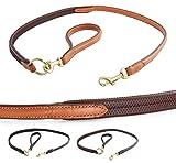 Fashion-Line von Pear Tannery: Hundeleine aus weichem Vollrindleder, versehen mit einem elastischen Gummibereich, Handgriff abnehmbar, 1,20m, hellbraun