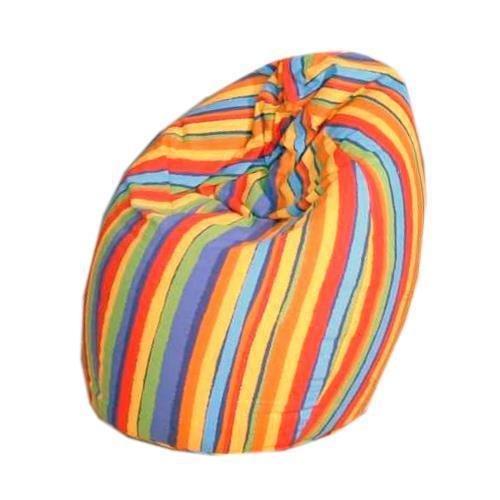 Fashionpillow Jeans Sitzsack/Bean Bag mit Baumwollbezug in Buntem Streifenmuster - 75 x 95 cm