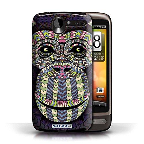 Coque de Stuff4 / Coque pour HTC Desire G7 / Loup-Bleu Design / Motif Animaux Aztec Collection Singe-Couleur