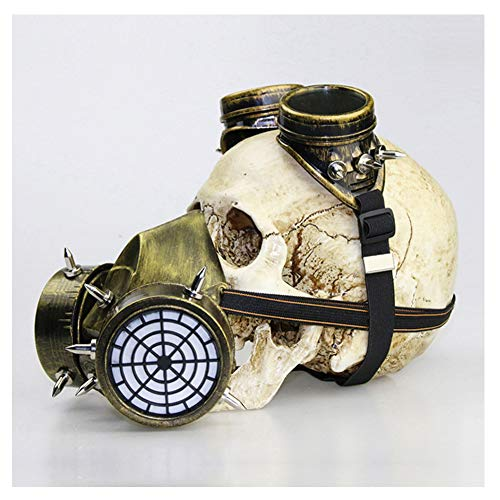 Doktor Mittelalterliche Kostüm Pest - WYQWAN Steampunk Schädel Maske mittelalterliche Pest Maske Doktor Kopf Maske Kostüm Gasmaske Brille Pest Halloween Kostüm Maskerade Maske Requisiten Geschenke,A
