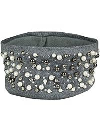 Mevina Damen Haarband Perlen Glitzer Pailletten Strass elastisch Stirnband gestrickt Fleece-Futter Strick