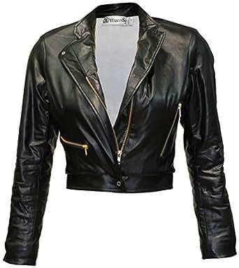 Attuendo Womens Faux Leather Cropped Biker Jacket (Medium)