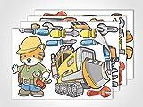 GRAZDesign 411026_4 Fenstersticker Baustelle | Fensterbild für Dein Kinderzimmer | Glasdekor für Fenster (DIN A4 (4Stück))