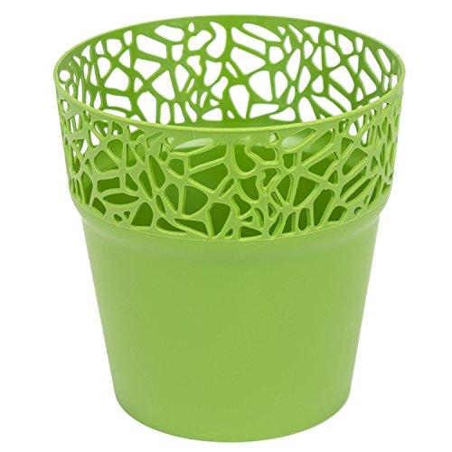 Rond cache-pot 17.5 cm NATURO plastique romantique style en olive