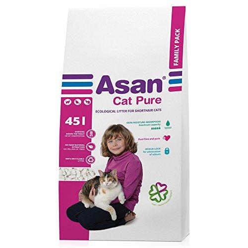 Asan - 3529 - 100% natürliche Katzenstreu mit erhöhter Absorption, 45L Asan Pure
