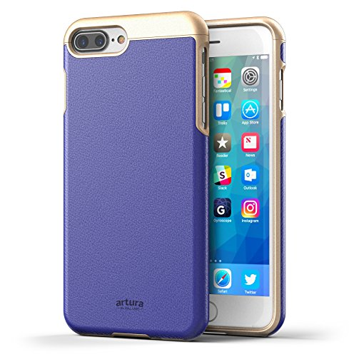 "iPhone 7 Plus (5.5"") Premium Vegan Leather Case - Artura Collection By Encased (Jet Black) Cobalt"