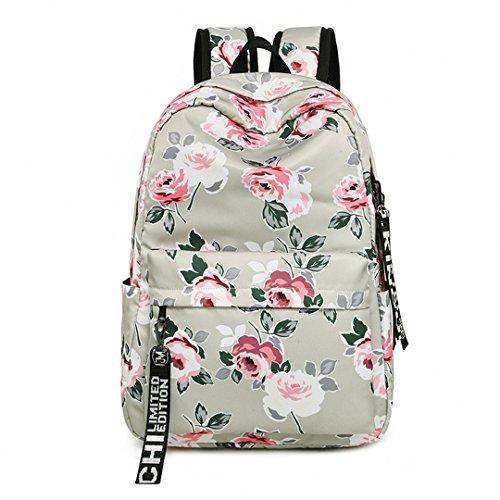 Mode Frauen Blume Druck Schule Rucksack Für Teenager Mädchen College Laptop Reisetasche Rucksack Bookbag Blue (Converse Frauen Blumen)