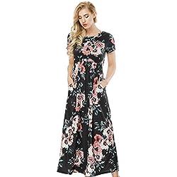 HUHHRRY Vestido Largo Mujer Elegante Ceremonia Boho Fiesta Ajustado Redondo Escote Vintage Citura Alta Verano