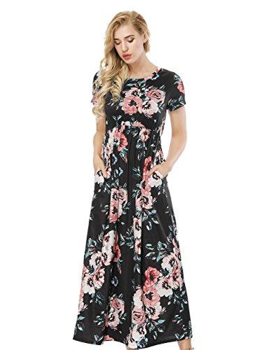Damen Kleid Vintage Blumendruck Lang/Kurzarm Maxikleid