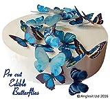 24 x Vorgeschnittene schöne blaue Schmetterlinge essbares Reispapier/Oblatenpapier Kuchendekoration, Dekoration für Cupcake Kuchen Dessert, für Geburtstag Party Hochzeit Babyparty (M)