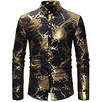 Camisa para Hombre, Camiseta de Solapa de impresión Blusa de Manga Larga Slim Fit Casual Tops Sudaderas Otoño e Invierno Gusspower
