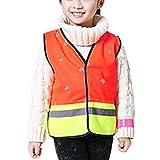 Camilife Kinder Sicherheitsweste Hohe Sichtbarkeit Reflektierende Westen Klettverschluss - Fluoreszenz Orange Größe M