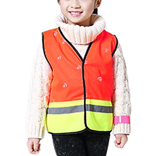 Kinder Sicherheitsweste Hohe Sichtbarkeit Reflektierende Westen Klettverschluss - Fluoreszenz Orange Größe S (Cami Orange)