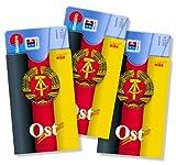 cardbox Motiv: OST/DDR-Fahne///3er SET///Hülle für Plastikkarten => Führerscheine, ePersos, Kundenkarten, ec-Karten uvm.