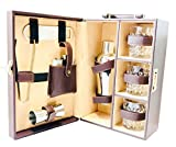 Abrazo Faux Leather Portable Bar Set | Travel Bar Set | Brown