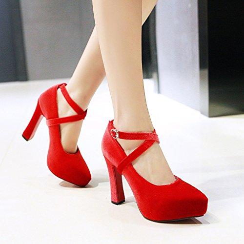 YE Damen Elegant Ankle Strap Wildleder High Heels Plateau Pumps mit Roter Sohle Schnalle Party Schuhe Rot