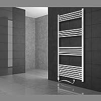 Radiador toallero 400 x 1200 mm Radiador de calefacción Secador de toallas Eléctrico 900W Barra curvada