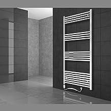 ECD Germany Radiador eléctrico para toallas - 600 x 1500 mm - Blanco - curvado con