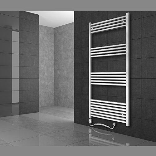 Radiador toallero 300 x 800 mm Radiador de diseño Secador de toallas con Elemento de calefacción eléctrico 300W Barra recta Color blanco