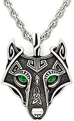 Idea Regalo - Unici fatti a mano argento antico verde smeraldo occhi Viking lupo testa pendente collana argento antico catena