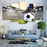 hdmfl Dekorative Kunst Leinwand Malerei 5 Panel Fußballspiel Fußballplatz Bild HD Drucken Wohnzimmer Poster Wand