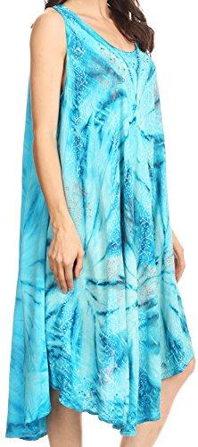 Sakkas Mariana Tie Dye Vine Print Kleid / Cover mit Sequins und Stickerei Türkis