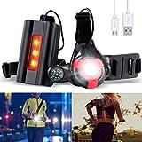 SGODDE Wiederaufladbare USB Running Light, 500 Lumen Lauflicht mit Kompass, Wasserdicht 90° Einstellbarer Abstrahlwinkel, Verstellbarer Band, Brust Lampe mit Warnen- Rotlicht, Leicht und Bequem Rot