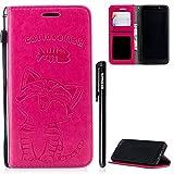 Hülle Samsung Galaxy A6 2018,BtDuck Ultra Slim Hülle Leder Magnet Handyhülle für Samsung A6 2018 Mädchen Brieftasche Kartenfächer Niedlich Katze Flip Case - Rose Rot