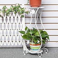 CJH Estantería de flor de hierro forjado europeo Suelo de varios niveles Balcón de interior y al aire libre Sala de estar Estantería colgante de orquídeas Estante de flor verde Estante de planta blanc