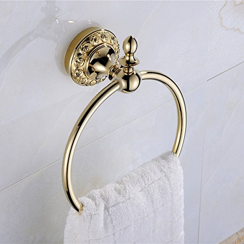 Weare Home Tragen homewall Halterung Badezimmer Golden Ti-PVD-Finish Messing Material Handtuch Ring Racks -