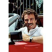 Tom Selleck in Magnum, P.I. smiling in Ferrari 308 GTS car 24x36inch (60x91cm) Poster