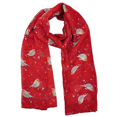 - 51d1lRSMZpL - Koly Women's Lady Long Cute Bird Print Scarf Wraps Shawl Soft Scarves (Red)
