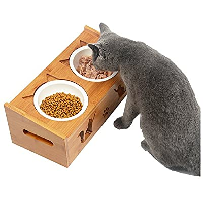 Cat Ear Pet Food Wooden Table,Dog and Cat Diner Pet Feeder,Wood Wood Dining Table with Double Bowl Raised Stand Comes with Extra Two Ceramics Bowls, Perfect for Pets - low-cost UK light store.