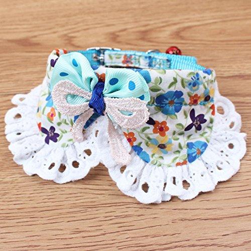 evalubuy (TM) Blume Print Hundehalsband mit Schleife, weiche Baumwolle + Nylon Katzenhalsband, verstellbar mit Glocke