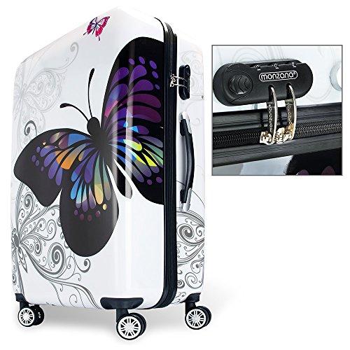 Hartschalen Koffer Butterfly Reisekoffer Trolley Reisegepäck Handgepäck gummierte Zwillingsrollen Polycarbonat Alu-Teleskopgriff - M - 5