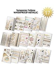 Tatouages Temporaires Métalliques | 17 feuilles tatouage ephemere femme (350+ dessins) |Beach, Party, Festival Favors Rave | brillants motifs variés pour filles, adultes