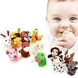 Fingerpuppen,Pupow 12st Velvet Kleintier in Garten Babygeschichtehelfer Finger Spielzeug Set, Weihnachtsgeschenk für Kinder (Tier 12pcs)