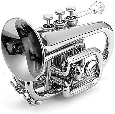 bestweekend Lade Bb trompeta de bolsillo Mini, en acabado lacado con maletín y accesorios