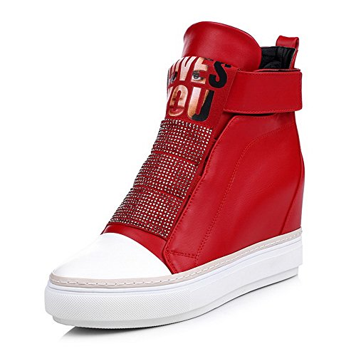 AllhqFashion Damen Rund Zehe Knöchel Hohe Hoher Absatz Gemischte Farbe Pu Stiefel Rot