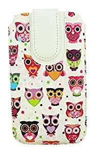 Emartbuy Multi Coloured Owls Print Premium PU Leather Slide in Pouch Case Cover Sleeve Holder ( Size 4XL ) With Pull Tab Mechanism Suitable For Samsung Galaxy S7 Edge