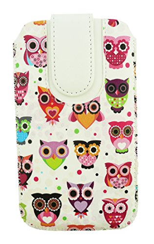 Emartbuy® Multi Coloured Owls Print Premium PU Leather Slide in Pouch Case Cover Sleeve Holder ( Size LM4 ) With Pull Tab Mechanism Suitable For Lava Xolo Q2000  available at amazon for Rs.399