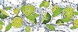 FORWALL VLIESFOTOTAPETE PANEL Fototapete Tapete Wandbild Vlies | Welt-der-Träume| Frische Limetten | VEP (250cm. x 104cm.) | Photo Wallpaper Mural 288VEP-AW | Wasser Obst Grun Minze Limetten Zitronen